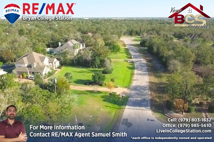 great oakes estates college station tx aerial view of homes on wooded lots