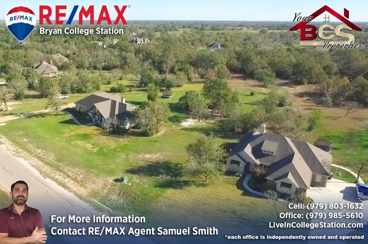 green branch ridge subdivision bryan texas aerial view of home on large lot