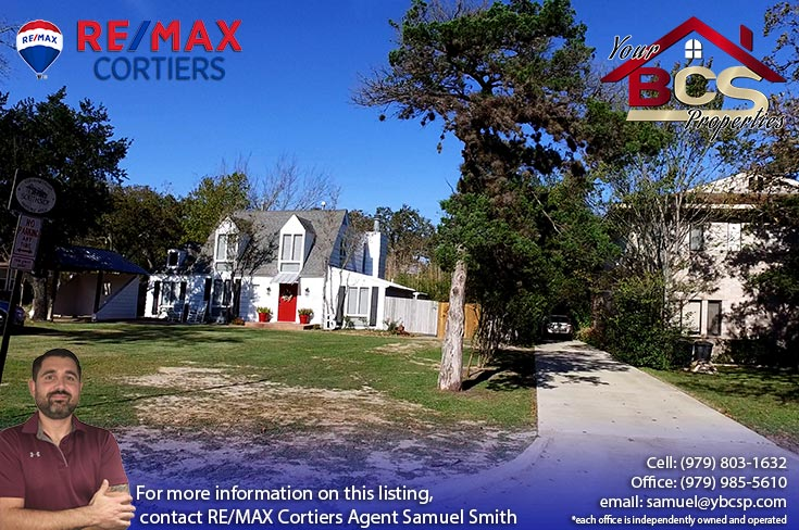 historic college station texas street view of home on wooded lot