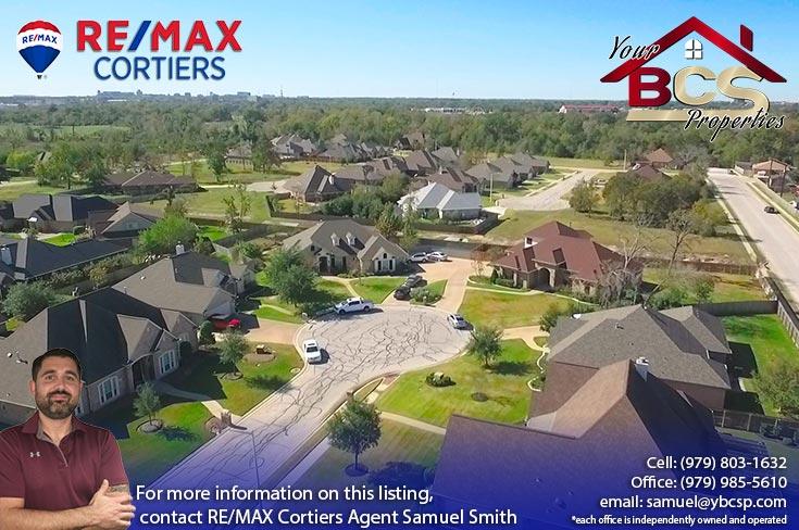 park meadow subdivision bryan tx aerial view of homes in cul-de-sac