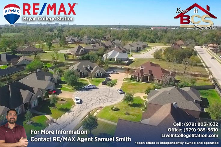 park meadow subdivision bryan tx aerial view of homes in cul-de-sac