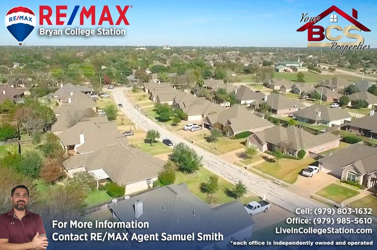park meadow subdivision bryan tx aerial view of homes lining the street