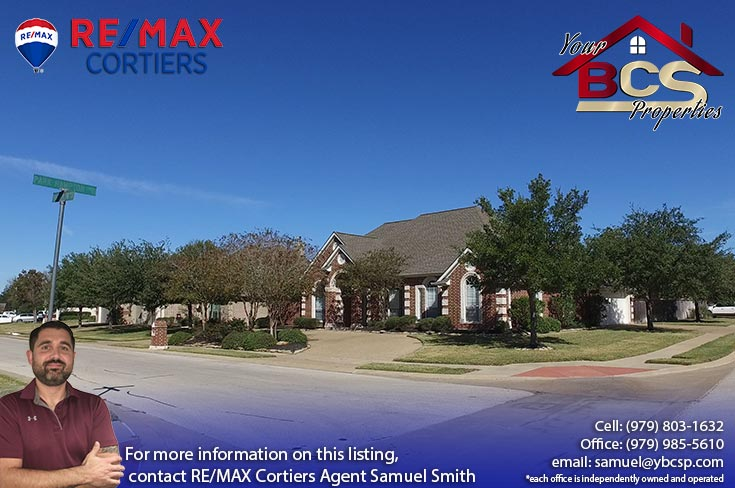 park meadow subdivision bryan tx street view of cornor lot home