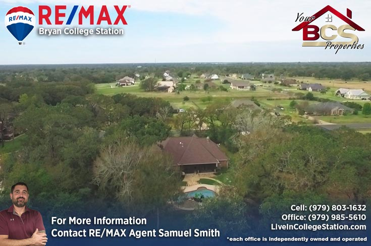 peach crossing college station texas aerial view of suburban home with pool