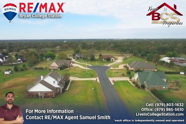 peach crossing college station texas aerial view of suburban homes in cul-de-sac