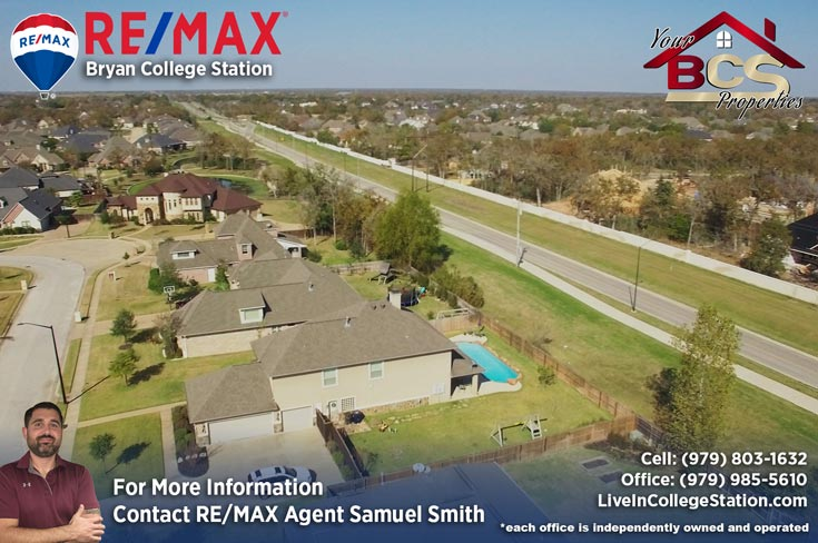 pebble creek college station tx aerial view of homes and close highway
