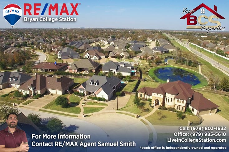 pebble creek college station tx aerial view of subdivision