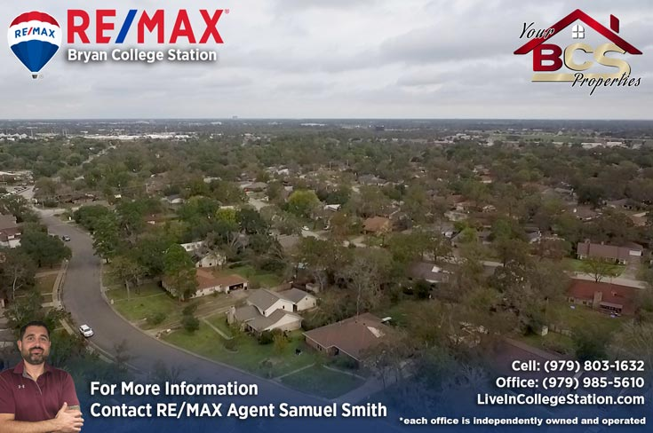 southwood valley college station tx aerial view of neighborhood
