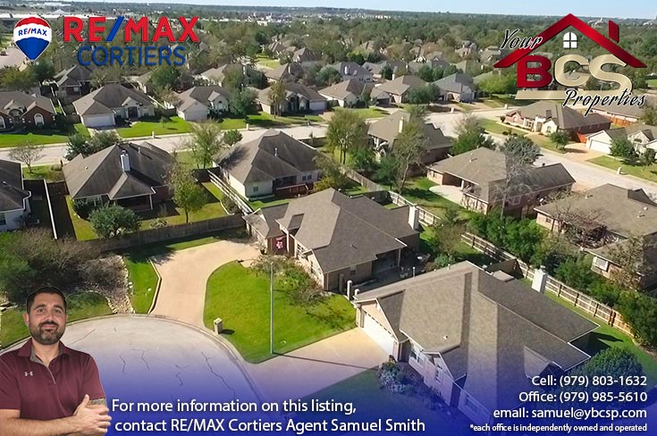 spring meadows subdivision college station texas aerial view