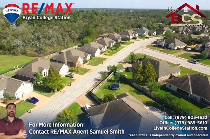 spring meadows subdivision college station texas aerial view of homes