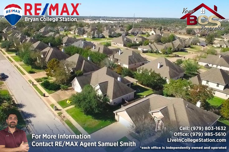 stone forest college station tx aerial view of suburb