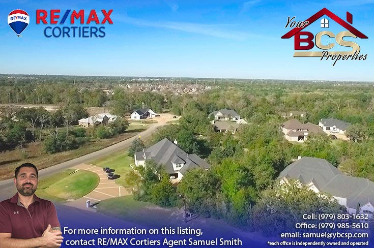 stonebrier subdivision bryan texas aerial view of homes on wooded lots