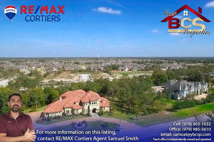 sweetwater forest college station tx aerial view with city