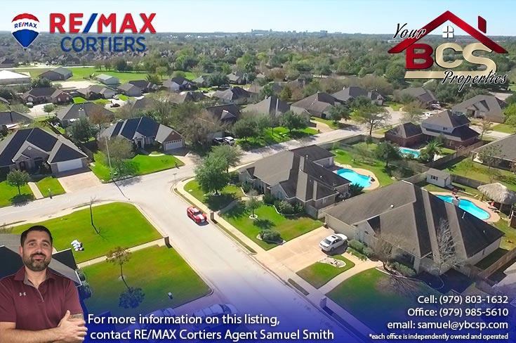 tiffany park subdivision bryan texas aerial view of neighborhood