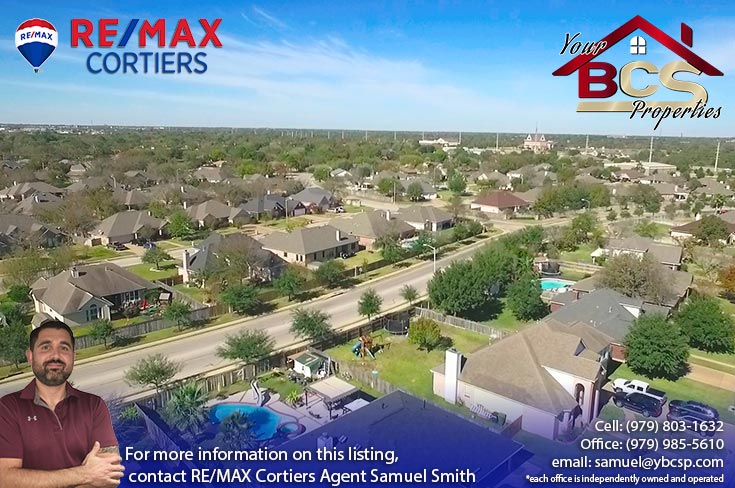 tiffany park subdivision bryan texas areial view of region