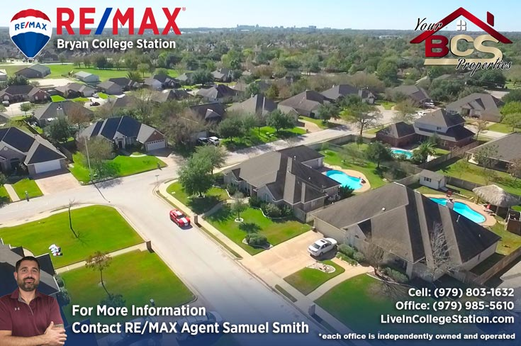 tiffany park subdivision bryan texas aerial view of neighborhood
