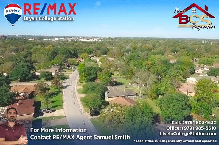 wheeler ridge neighborhood bryan texas aerial view of homes