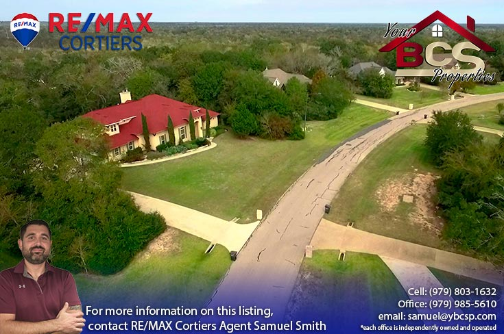 williams creek college station texas aerial view of home on large lot