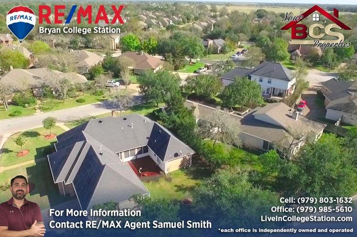 wood creek college station aerial view of suburban neighborhood