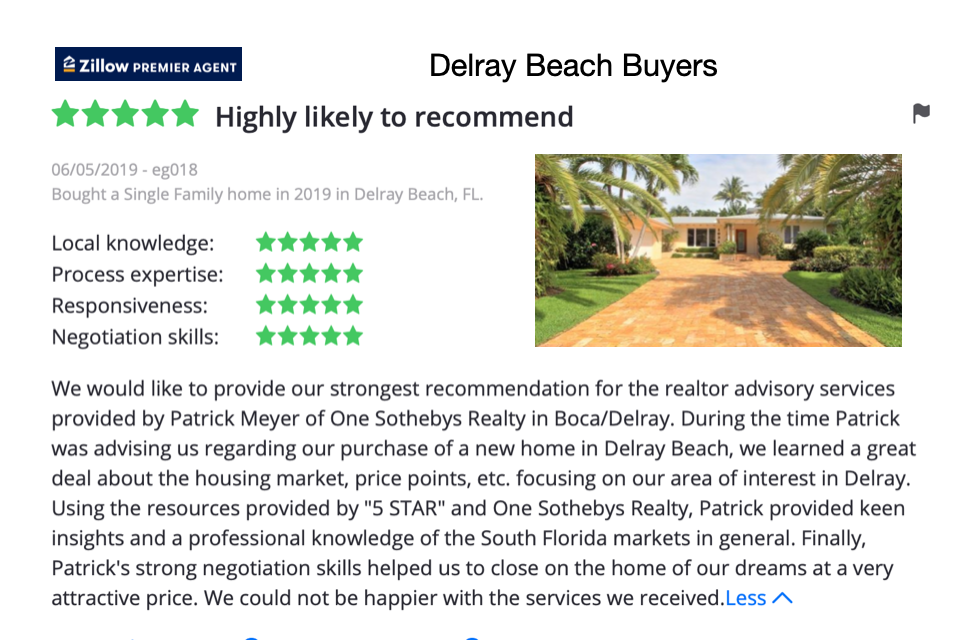 Delray Beach Zillow Positive  Review of Patrick Meyer