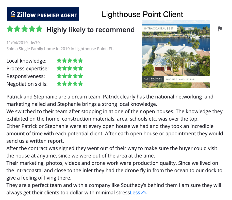 Lighthouse Point Zillow Positive Review for Patrick Meyer