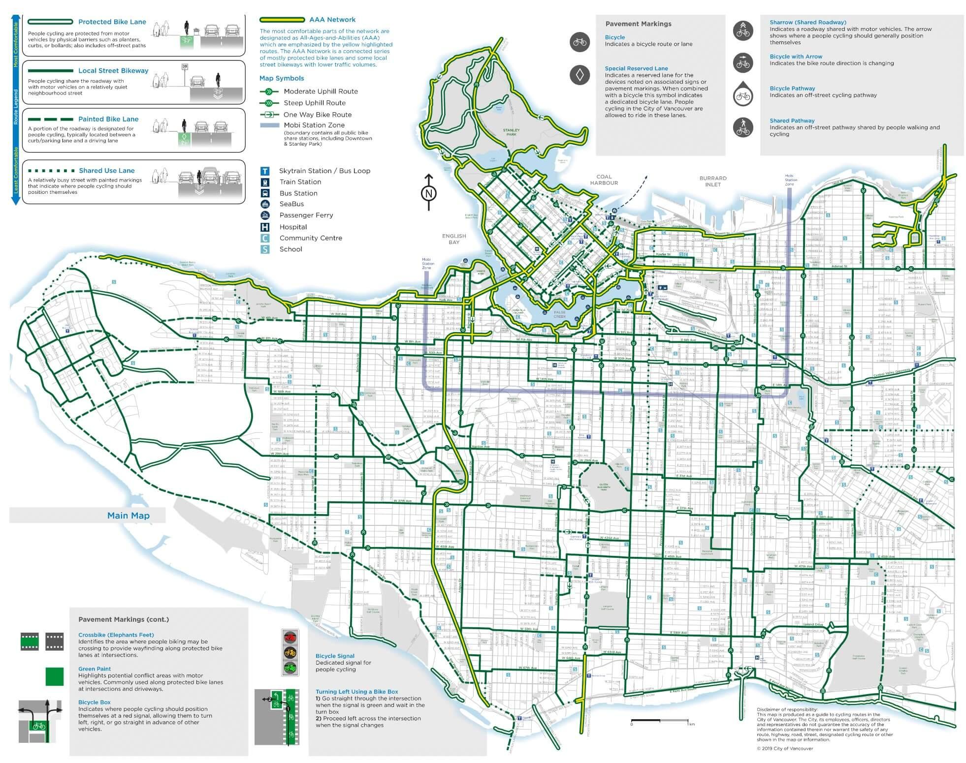 Cycling Map, Vancouver BC