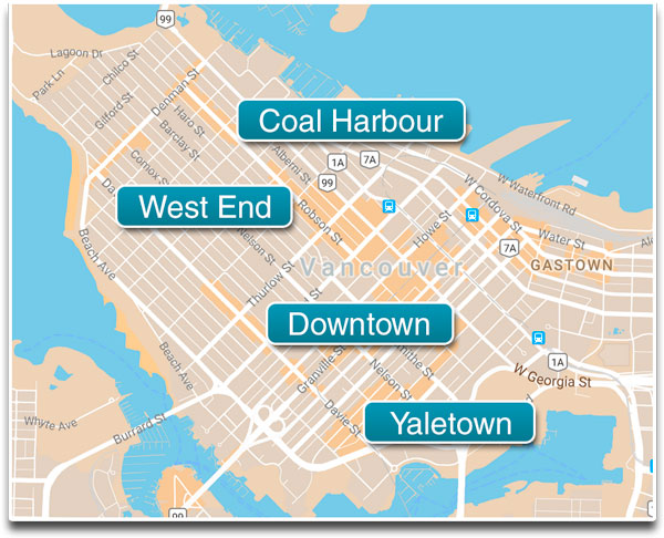 All Downtown Vancouver neighbourhoods