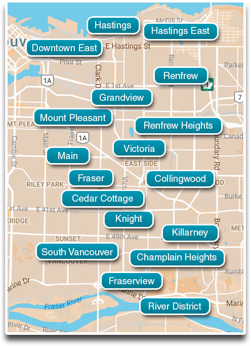 All Eastside Vancouver neighbourhoods
