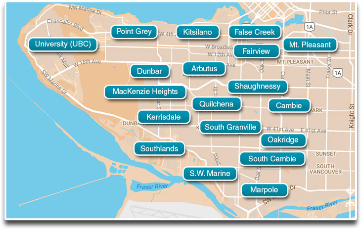 All Westside Vancouver neighbourhoods