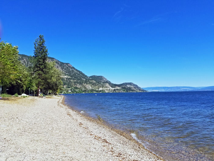 Beach across the street from Lakeshore Gardens Peachland BC