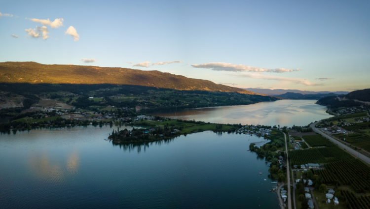 Aerial shot of Lake Country BC Real Estate