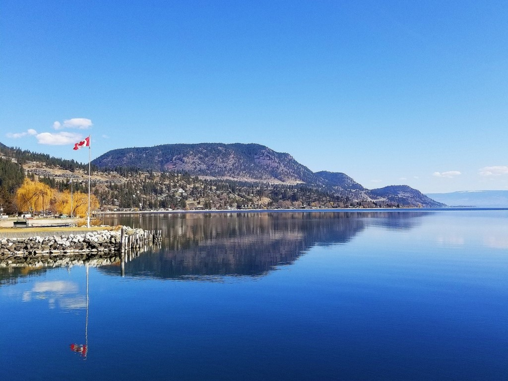 peachland bc waterfront with canada flag